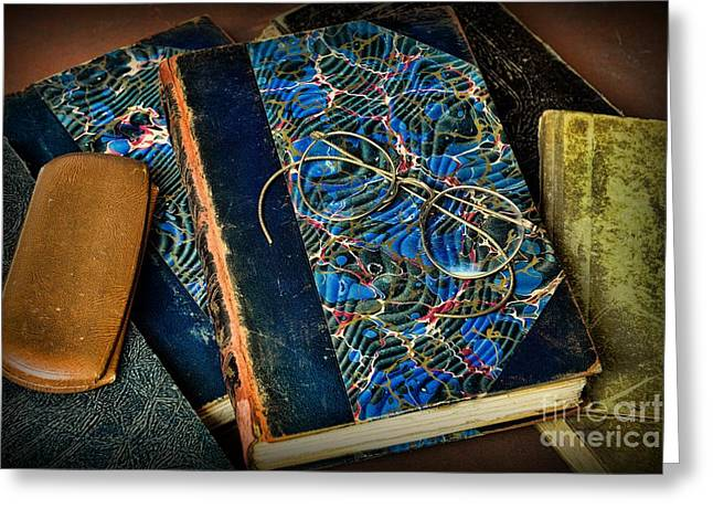Reading And Glasses Greeting Card by Paul Ward