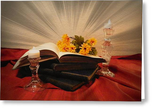 Reading By Candle Light Greeting Card by Carol Grenier