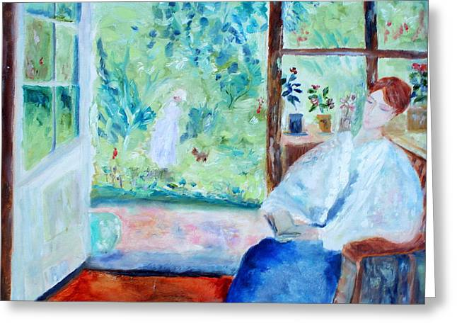 Greeting Card featuring the painting Reading By The Garden by Aleezah Selinger