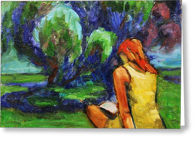 Greeting Card featuring the painting Reading In A Park by Xueling Zou