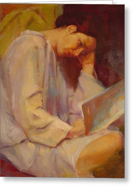Reading In The Blue Robe  Greeting Card by Irena  Jablonski