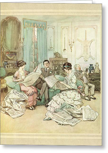 Reading Newspapers Greeting Card by British Library