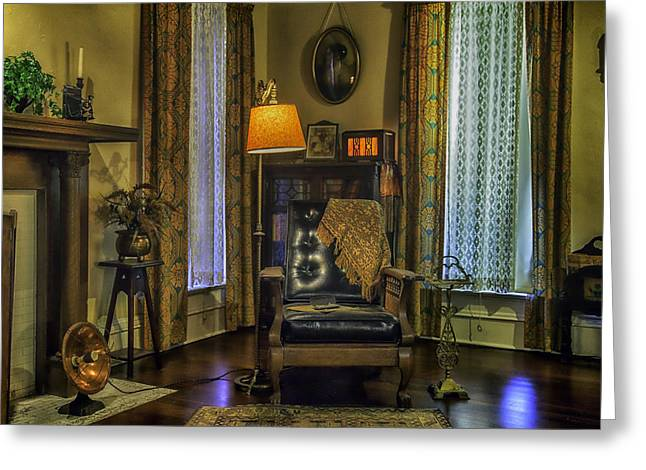 Reading Nook With Leather Chair Greeting Card by Lynn Palmer