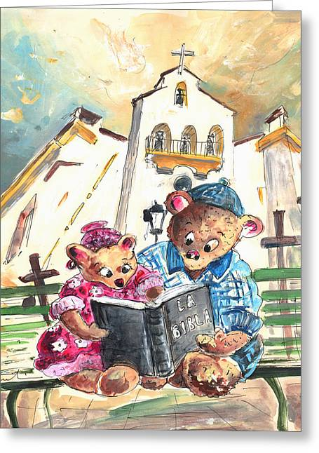 Reading The Bible In La Iruela In Spain Greeting Card by Miki De Goodaboom