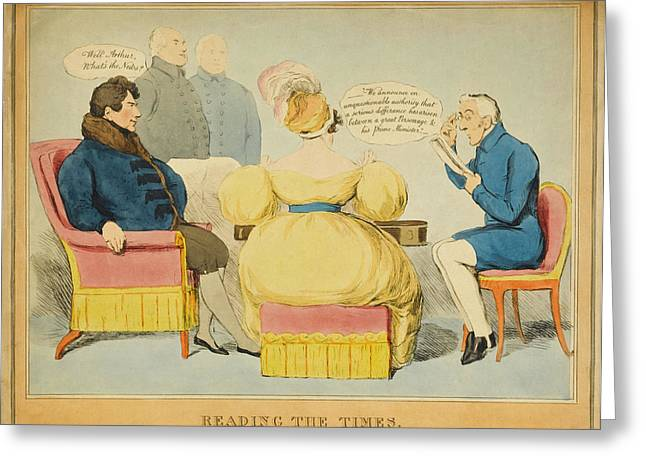 'reading The Times' William Iv Greeting Card by Mary Evans Picture Library