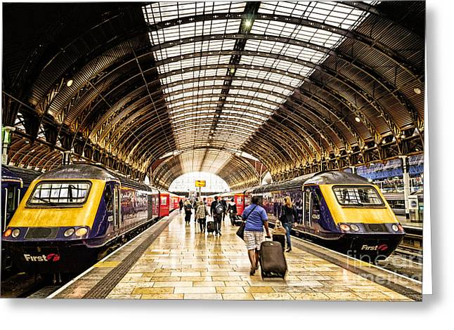 Ready For Departure - Trains Ready To Depart From Under The Grand Roof Of London Paddington Station Greeting Card