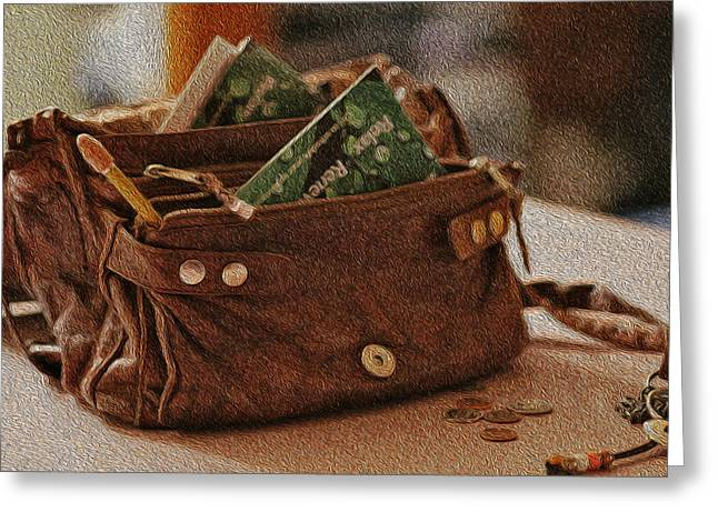 Ready For Work - Leather Pocketbook Greeting Card by Crystal Harman