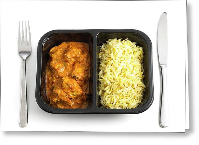 Ready Meal Curry And Rice Greeting Card by Science Photo Library
