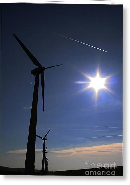 Windfarm And Blue Sky Greeting Card by Alan Harman