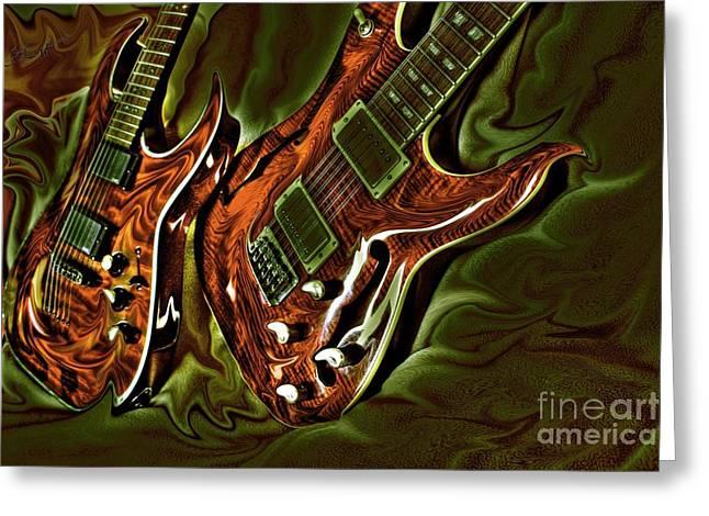 Ready To Rock Digital Guitar Art By Steven Langston Greeting Card by Steven Lebron Langston