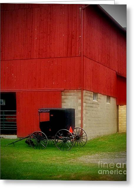 Readying The Buggy Greeting Card by Desiree Paquette