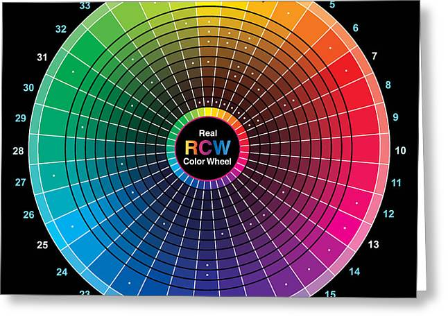 Real Color Wheel - 54 Pigments Greeting Card by Don Jusko