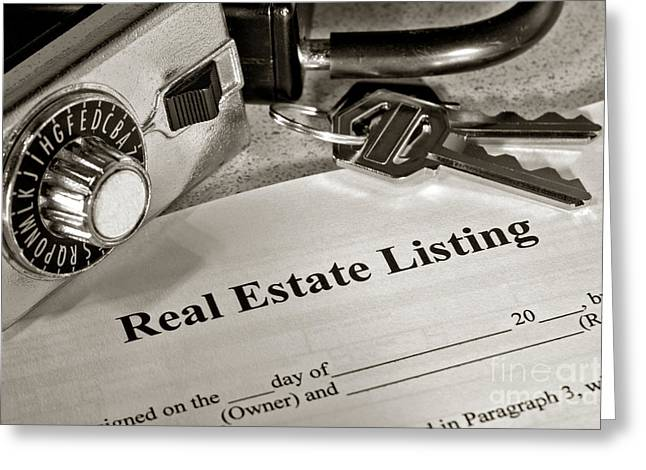 Real Estate Listing And Lock Box Greeting Card