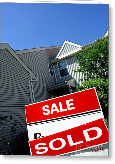 Real Estate Sold Sign And Townhouse Greeting Card