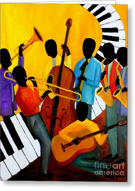 Real Jazz Octet Greeting Card by Larry Martin