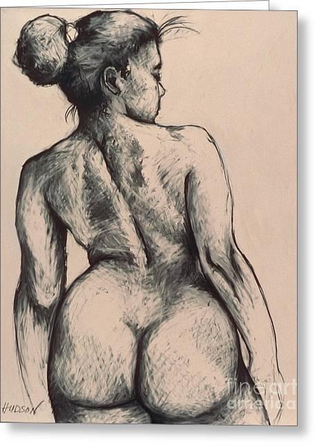 realistic nude figure drawing - Katja on Beige Greeting Card