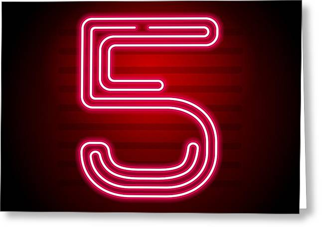 Realistic Red Neon Number. Number With Greeting Card