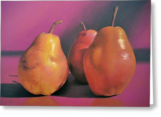 Really Red Pears Pastel Greeting Card by Ben Kotyuk