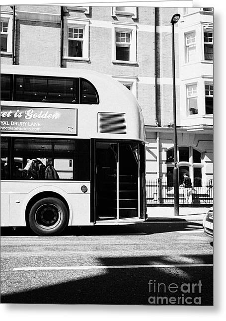 Rear Hop On Hop Off Area Of New London Routemaster Bus In Central London England Uk Greeting Card by Joe Fox