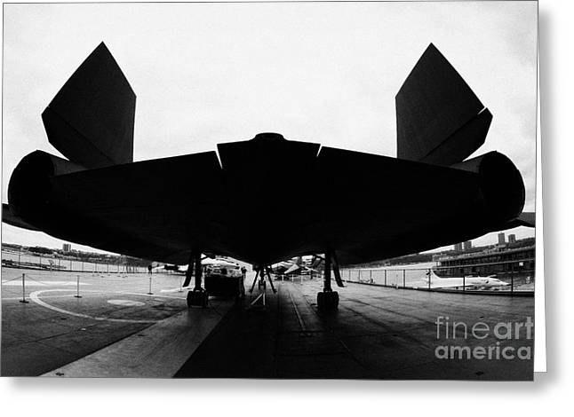 rear of Lockheed A12 Blackbird on the flight deck of the USS Intrepid  Greeting Card