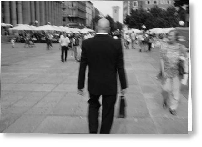Rear View Of A Businessman Walking Greeting Card