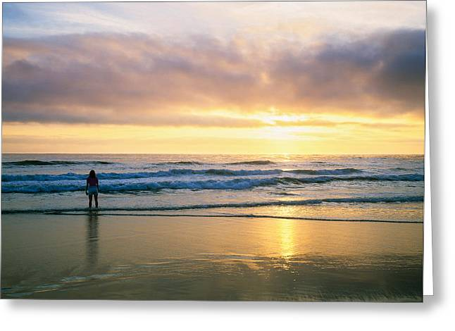 Rear View Of Woman On Beach Looking Greeting Card by Panoramic Images