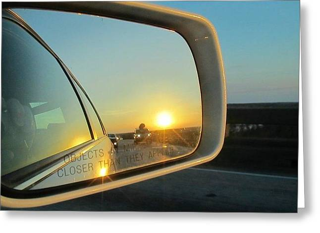 Rear View Sunset Greeting Card