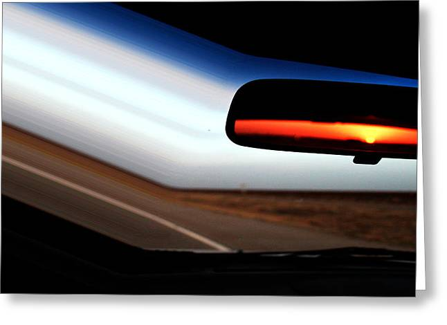 Rearview Sunset Greeting Card