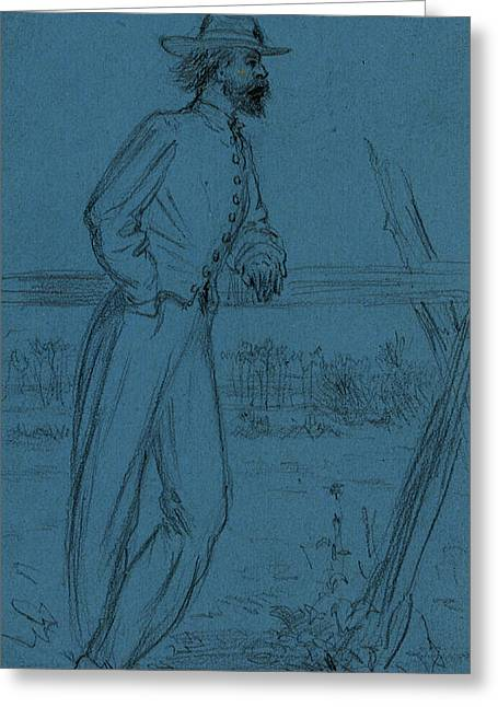 Rebel Guard, Between 1860 And 1865, Drawing On Blue Paper Greeting Card