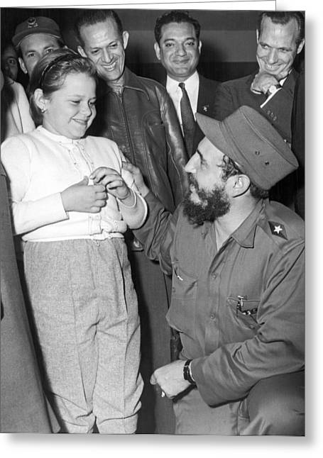 Rebel Leader Fidel Castro Greeting Card by Underwood Archives