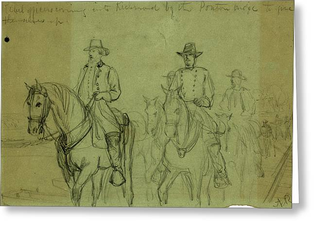 Rebel Officers Coming Into Richmond By The Ponton  Bridge Greeting Card