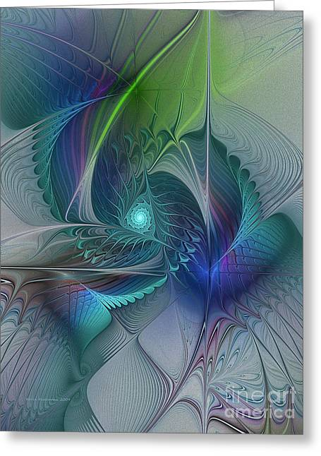 Rebirth-fractal Art Greeting Card by Karin Kuhlmann