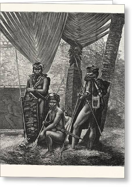 Recent Piracy At The Straits Settlements  Dyaks Of Borneo Greeting Card by English School
