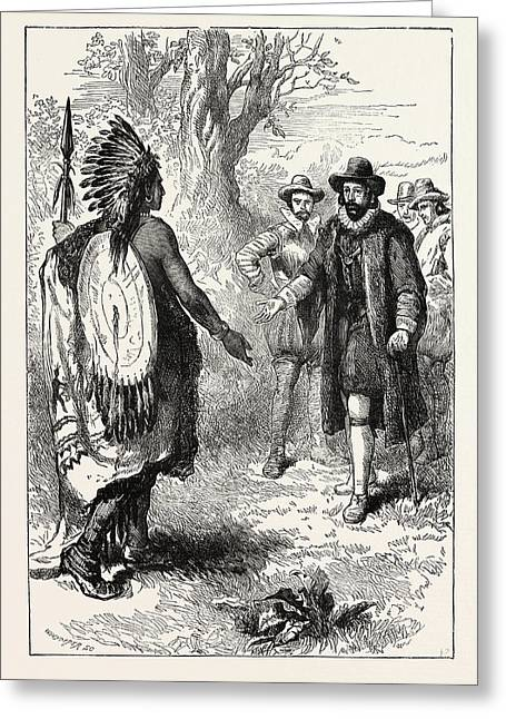 Reception Of A Narragansett Warrior By John Winthrop Greeting Card by English School