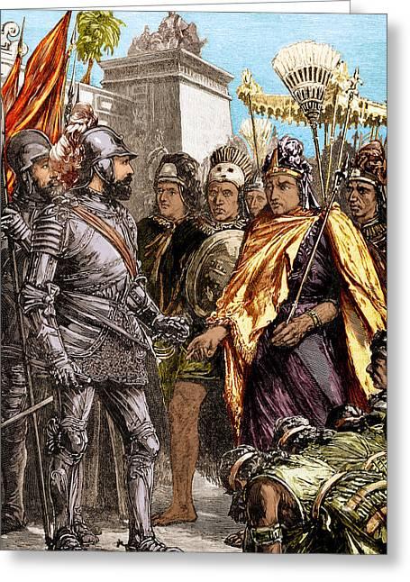 Reception Of Cortez By Montezuma, 1519 Greeting Card