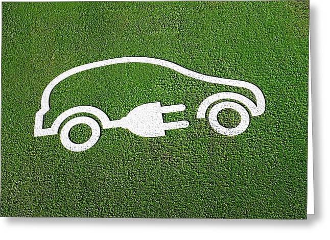 Rechargeable Electric Car Symbol Greeting Card by Jeremy Walker