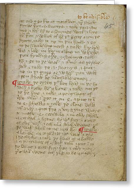 Recipe For Invisibility Greeting Card by British Library