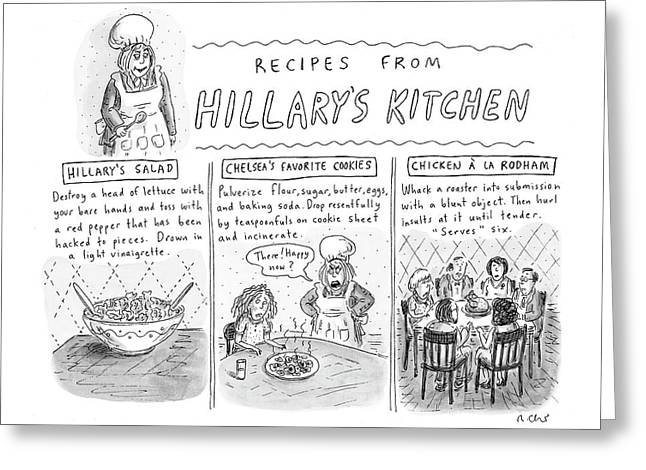 'recipes From Hillary's Kitchen' Greeting Card by Roz Chast