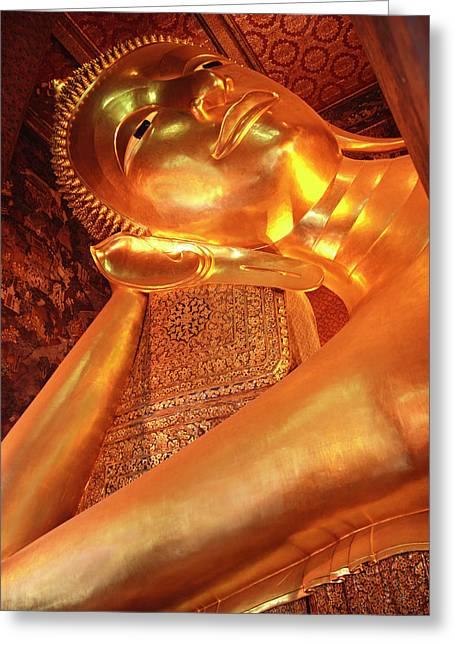 Reclining Buddha Greeting Card by Adam Romanowicz