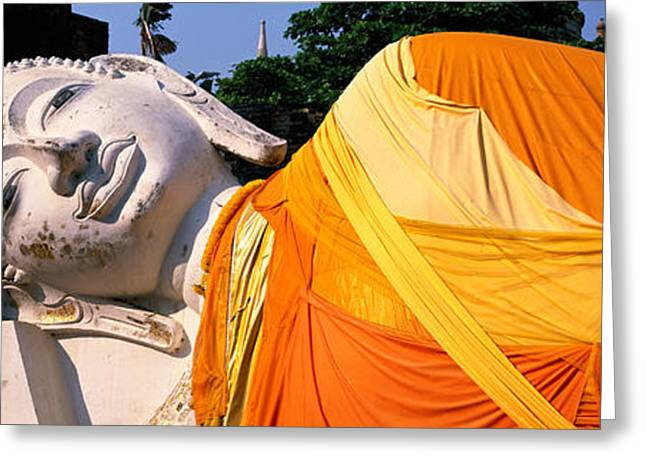 Reclining Buddha Ayudhaya Thailand Greeting Card by Panoramic Images