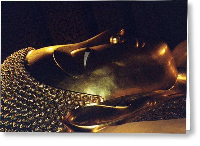 Greeting Card featuring the photograph Reclining Buddha by Mary Bedy