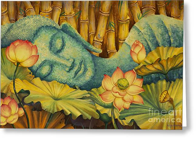 Reclining Buddha Greeting Card by Yuliya Glavnaya