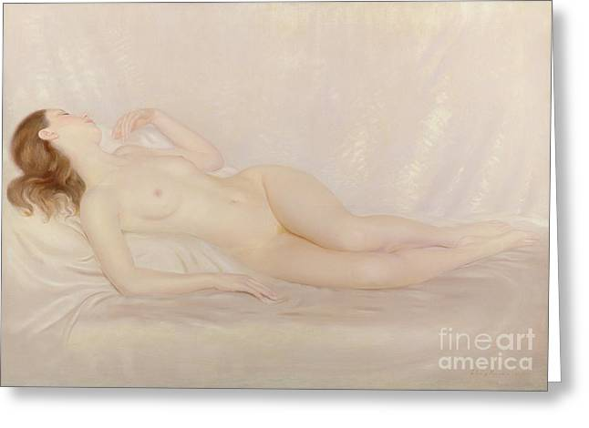 Reclining Nude Greeting Card by Edward Stanley Mercer