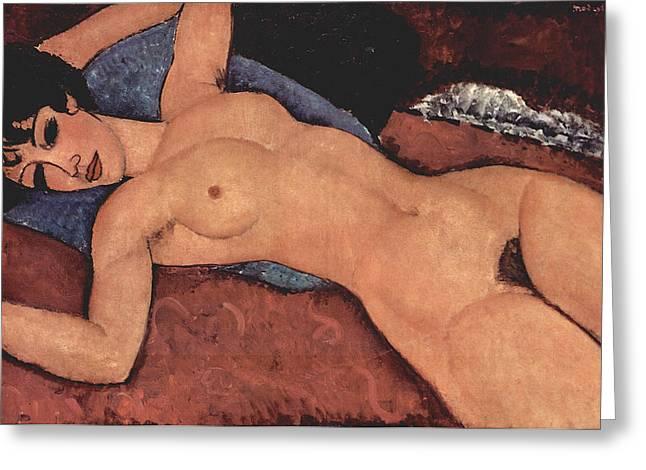 Reclining Nude Greeting Card by Amedeo Modigliani
