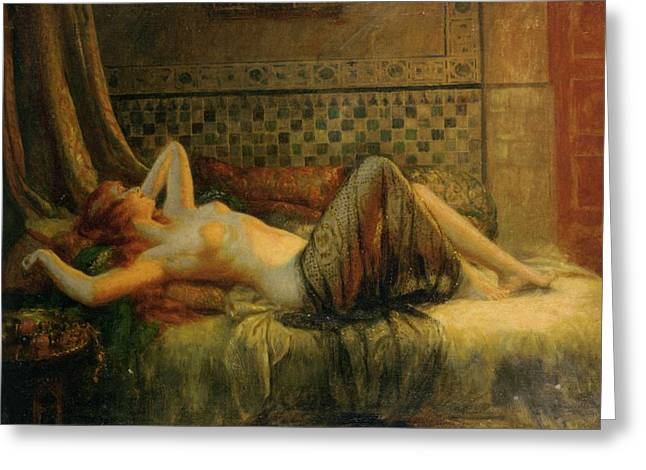 Greeting Card featuring the painting Reclining Nude   by Delphin Enjolras