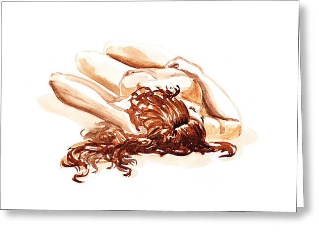 Reclining Nude Model Gesture Xv Under The Sun  Greeting Card by Irina Sztukowski