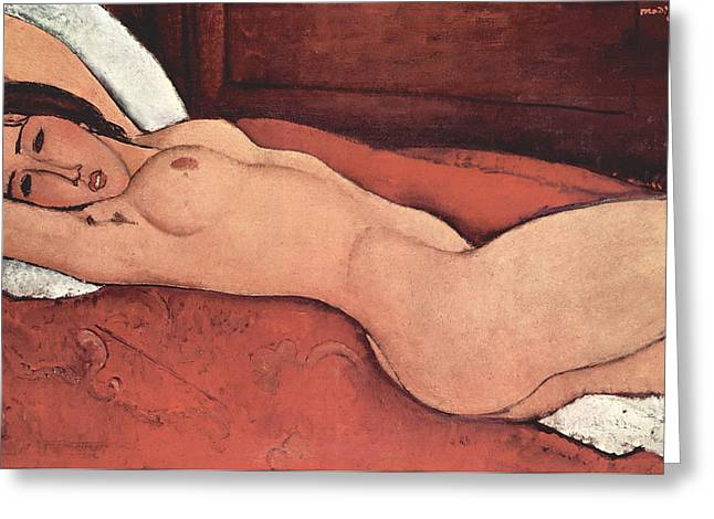 Reclining Nude With Arms Behind Her Head Greeting Card by Amedeo Modigliani