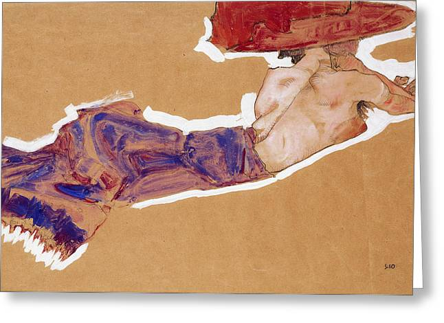 Reclining Semi-nude With Red Hat Greeting Card by Egon Schiele