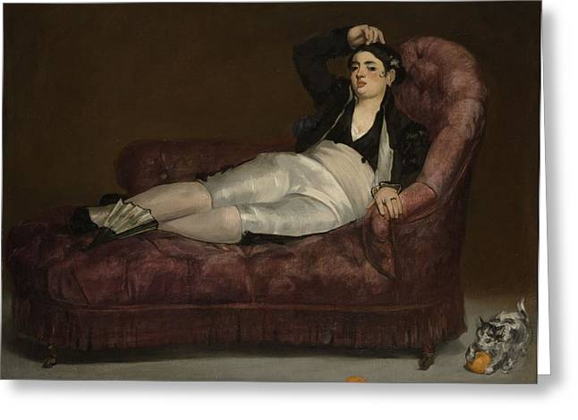 Reclining Young Woman In Spanish Greeting Card by Edouard Manet