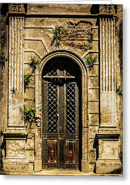 Greeting Card featuring the photograph Recoleta Crypt Door by Rob Tullis